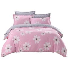 斜纹环保印花纯棉四件套1.8m床上用品 床单纯真花季