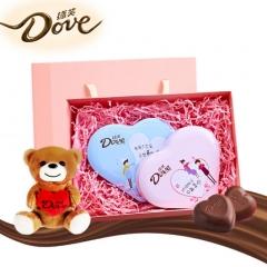 德芙Dove相悦巧克力礼盒196g(限量款心语巧克力98g*2+萌熊+马卡龙粉礼盒)